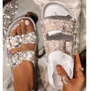 Embellished Double Buckle Sandals – Silver